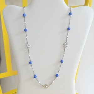 Lia Sophia Blue and White Beads Necklace